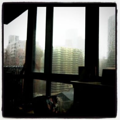 Wind and rain blasts our window